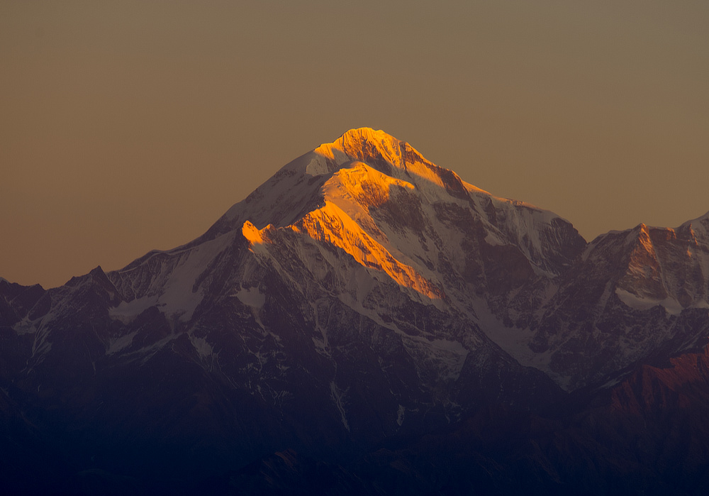 Trishul lit by early morning light
