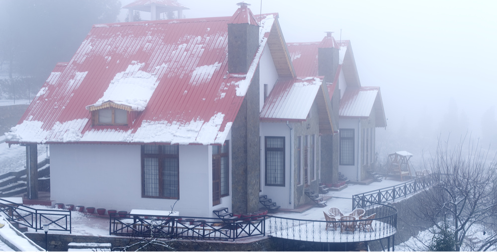 Snow covered cottages