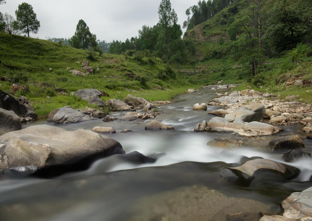 Meadows and Rocks frame the stream